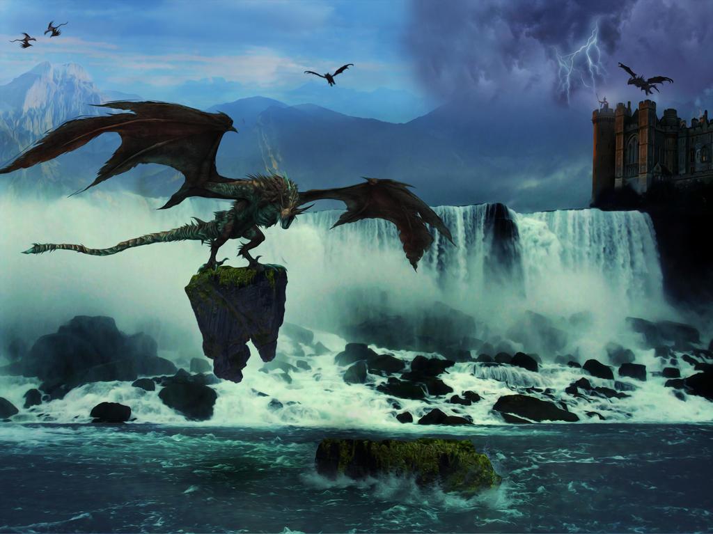 Waterfall Scene by MrTinyx