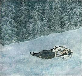 a horizontal couple and snow by barbarasobczynska