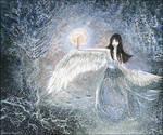 swan-winged girl Iris, dancing