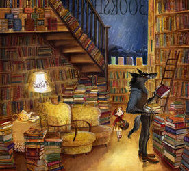 Little Red Riding Hood in a bookshop by barbarasobczynska