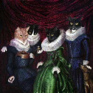 Group Portrait of Four Elegant Cats
