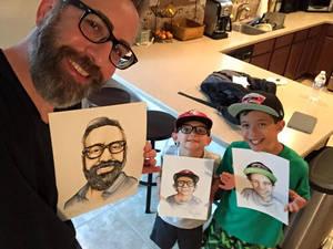Nestel familia showing my illustrations of them