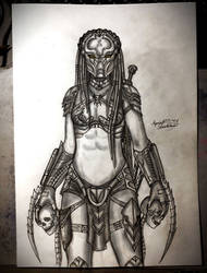 Yautja Huntress (Sketch) by Reynjel-Darkflame