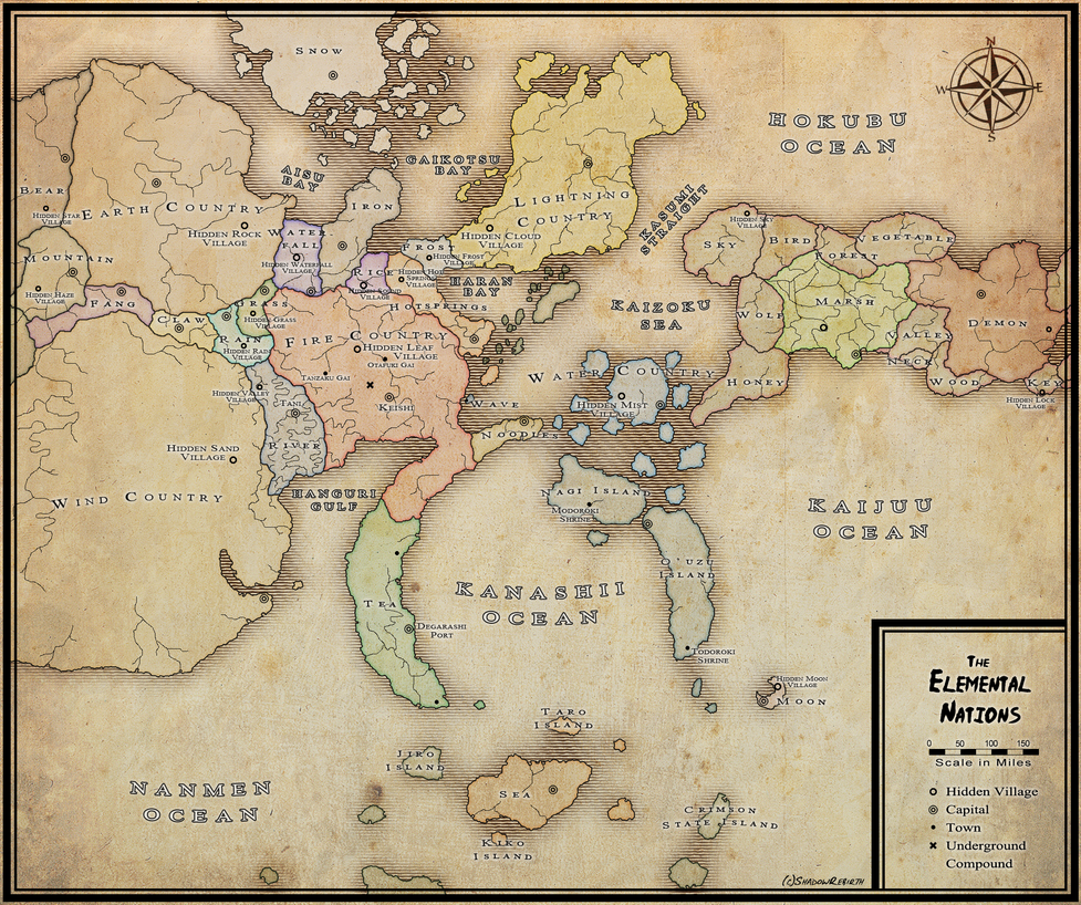 Elemental Nations Political Map by xShadowRebirthx on