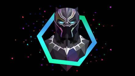 Low Poly Art - Black Panther Hex by giftmones