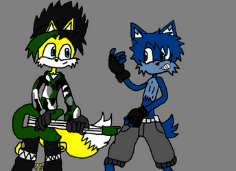 Pheonix the fire fox and Toby the wolf rocks out by ChunkyTheLunatic