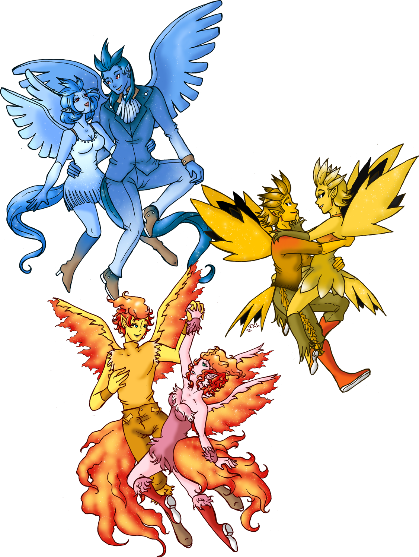 Pokemon Gijinka 144 -146 by Akumabaka on DeviantArt