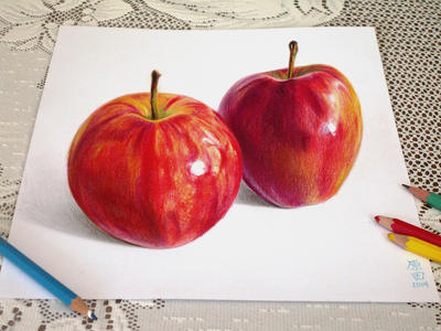 3D-13  Two Apples by carmenharada