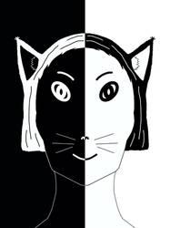 Black and White Catgirl Head