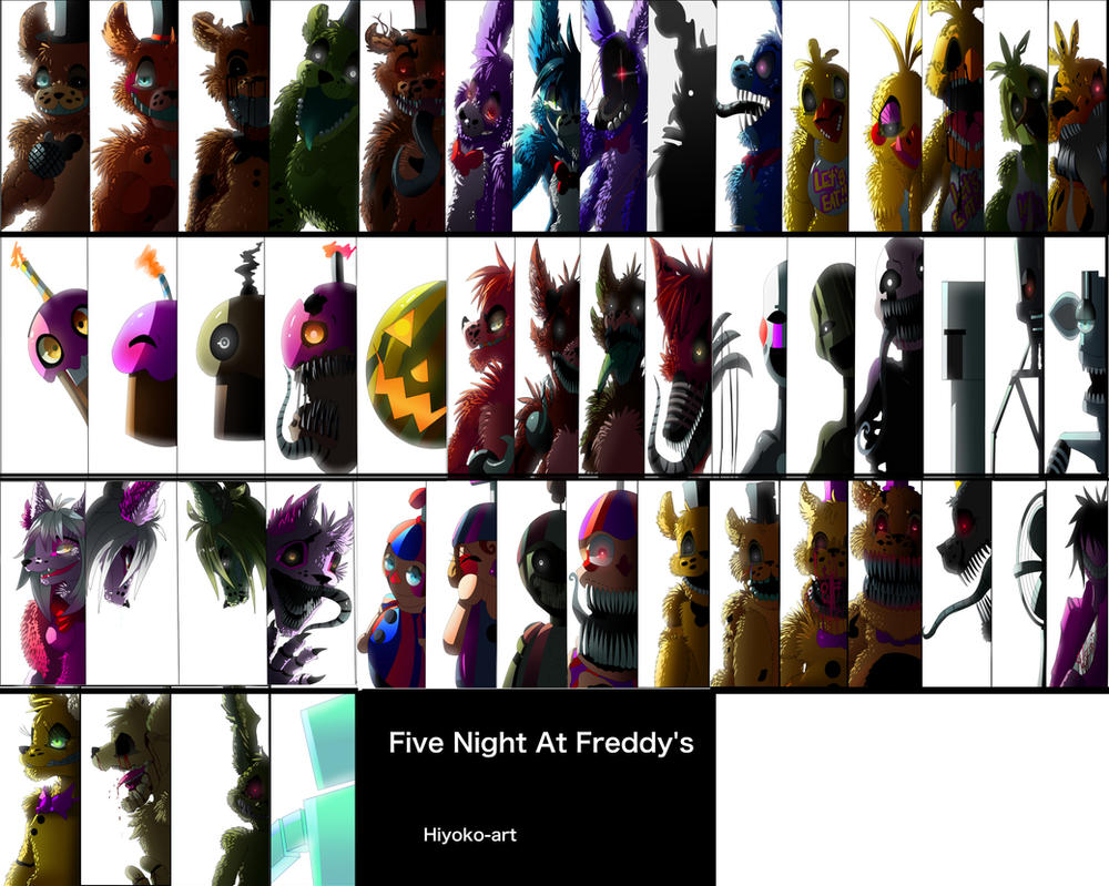 Fnaf All Characters By Hookls – Dibujos Para Colorear