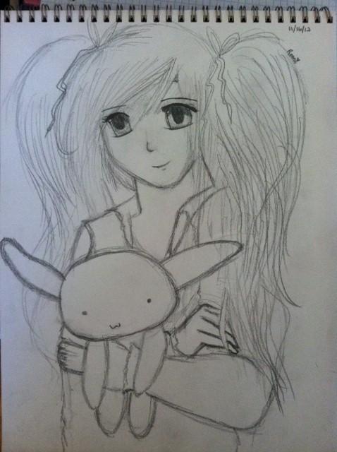 Cute girl holding a stuffed bunny by Slushiex3