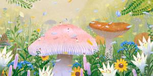 Mushroom Forest in Spring