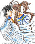 Belldandy and Keiichi colored