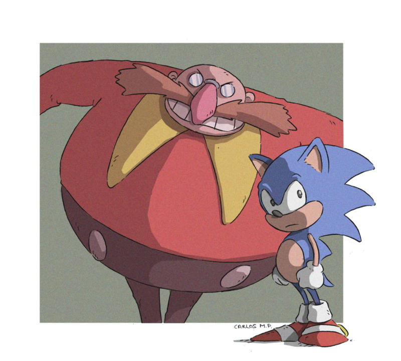 Sonic and Robotnik Eggman fan art dibujo