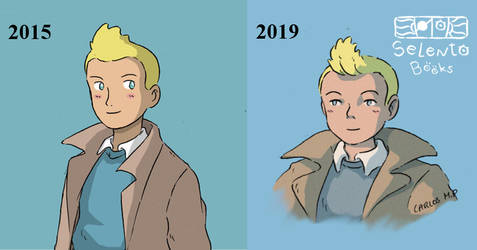 Tintin fanart anime style before after