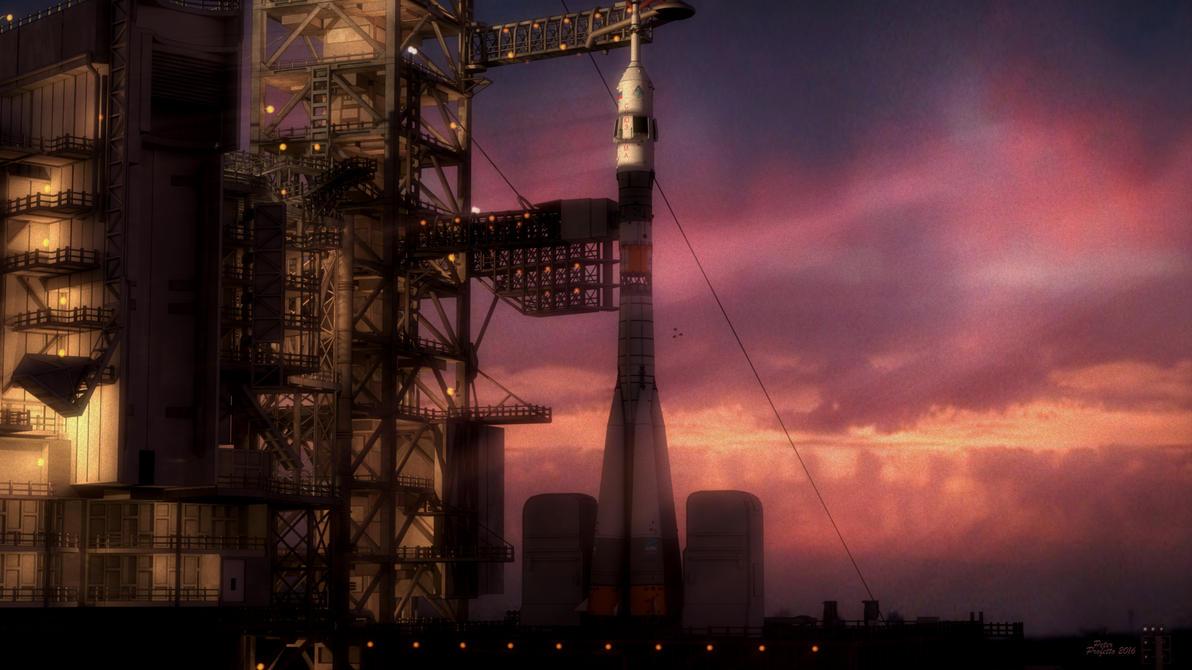 Nasa Launch Pad with Russian rocket by peterpro
