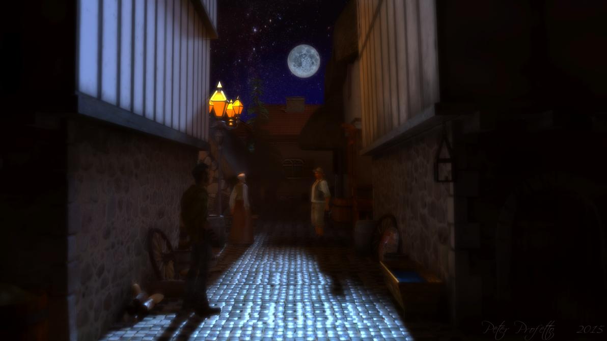 medieval town alleyway by peterpro