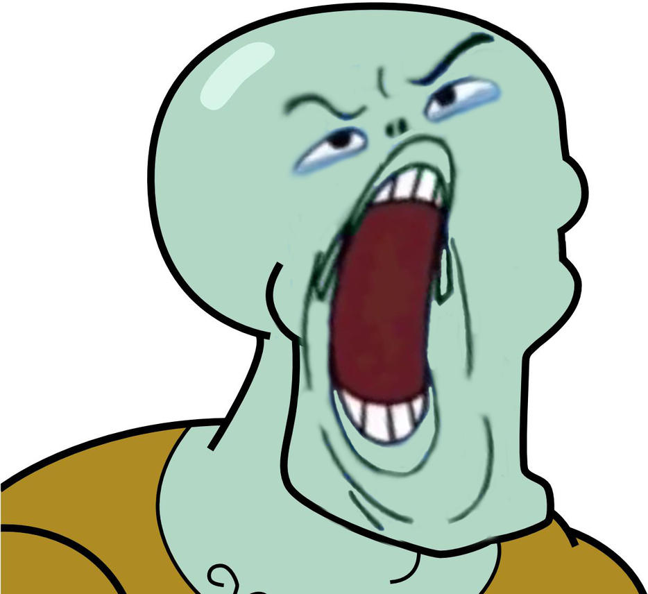 ugly blue guy and handsome squidward face swap by