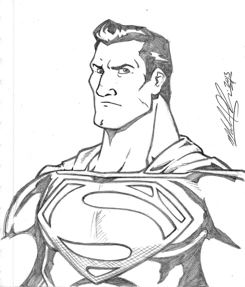 Pencil Drawing Images Cartoons: Man Of Steel Pencil Sketch By Mikereisner On DeviantArt