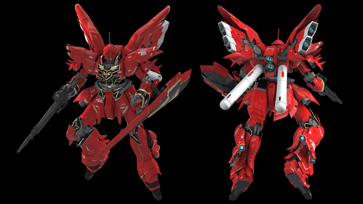 MSN-06S Sinanju ( re - render ) by QUICKMASTER