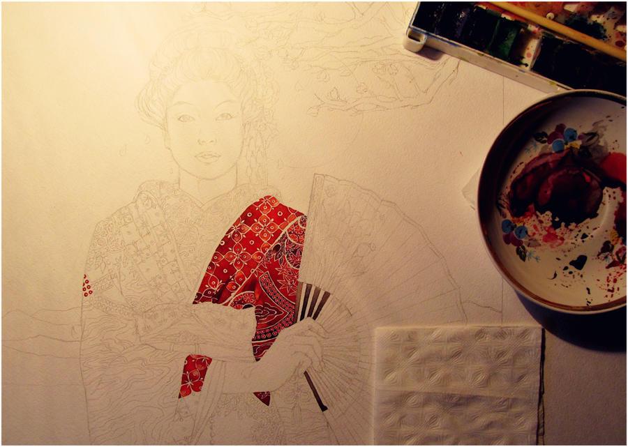 - Red kimono stage - by Losenko