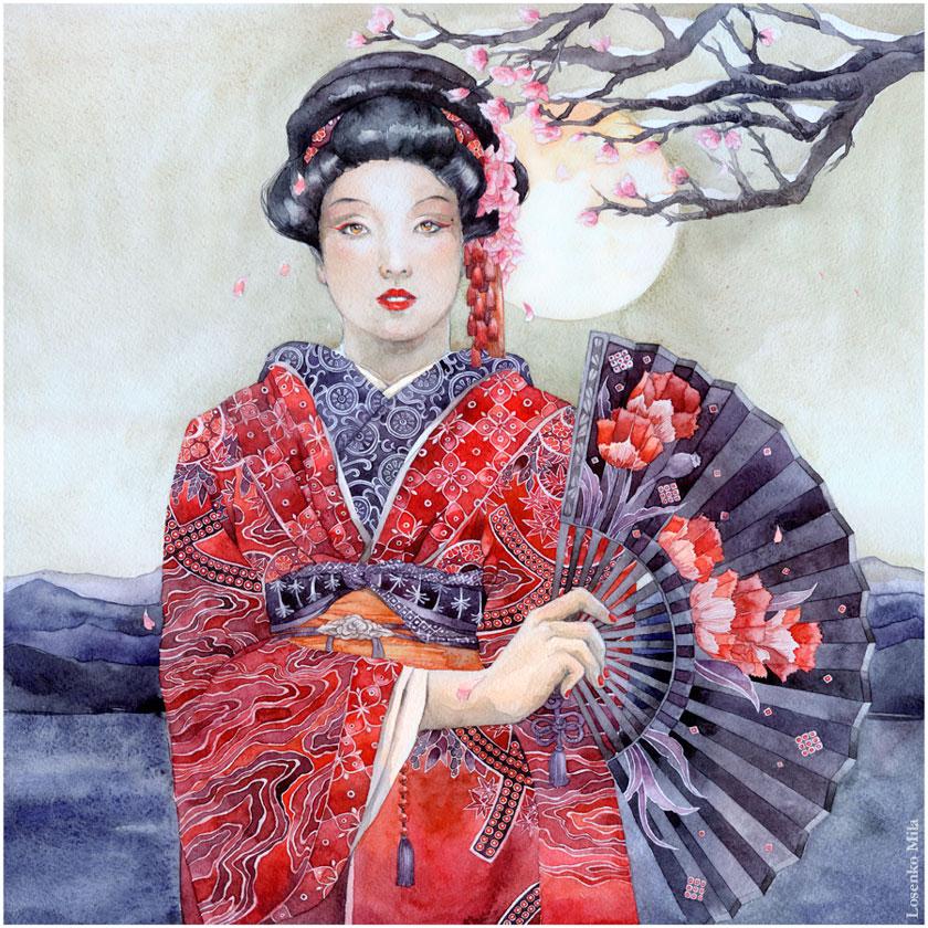 - Comission: Red kimono - by Losenko