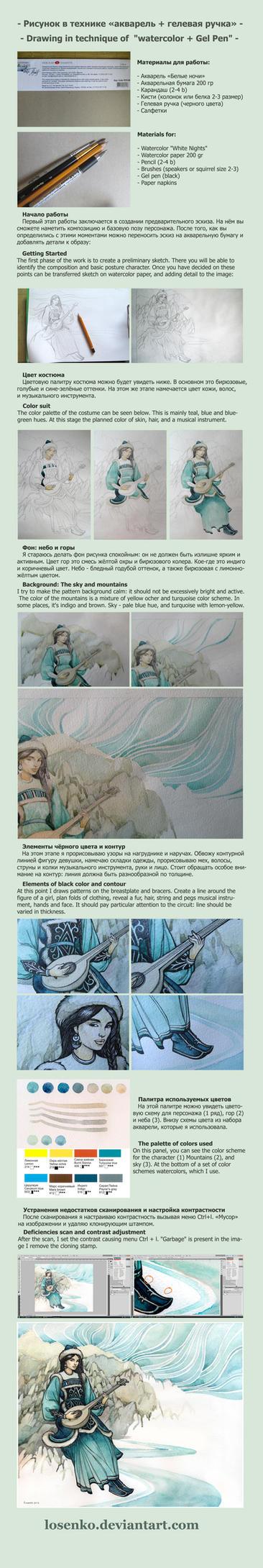- Tutorial - watercolor+Gel Pen - by Losenko