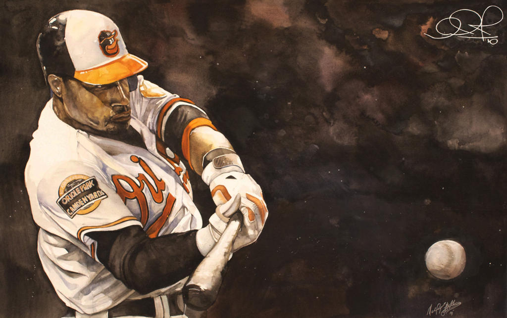 Adam Jones Watercolor Of The Baltimore Orioles By MichaelPattison