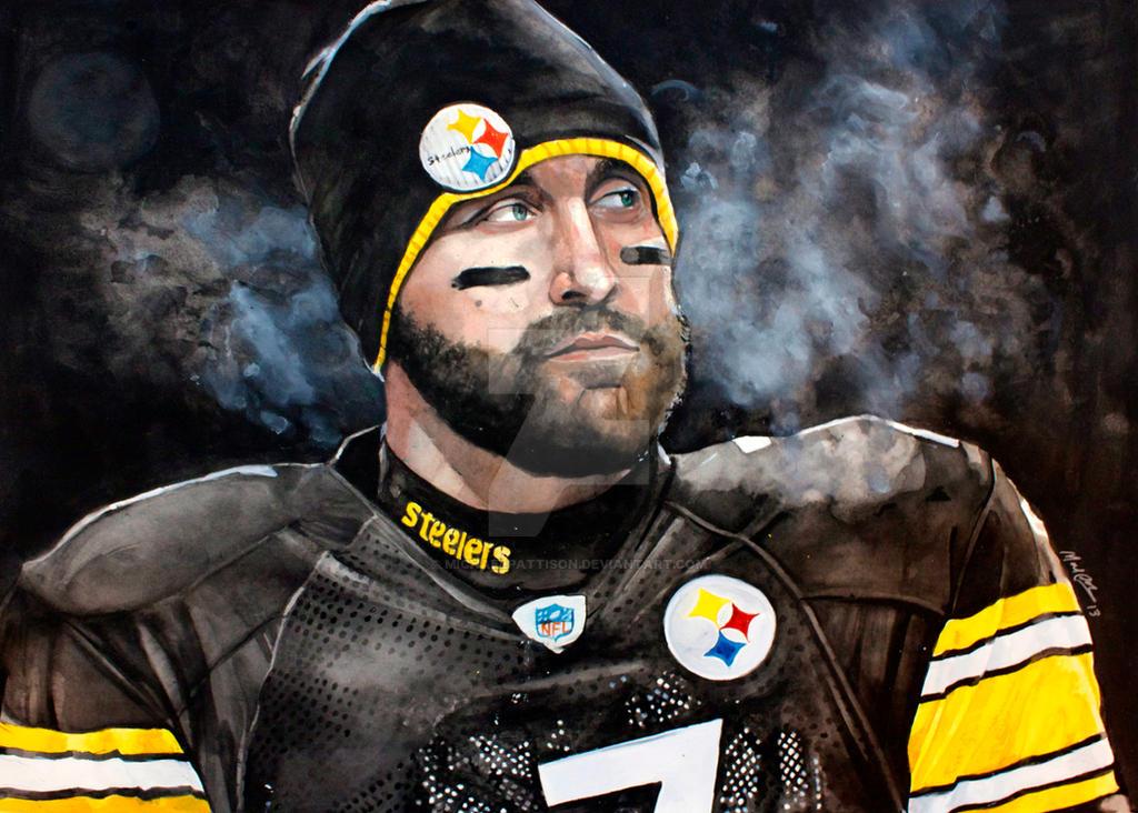 Pittsburgh steelers ben roethlisberger watercolor by pittsburgh steelers ben roethlisberger watercolor by michaelpattison voltagebd Images