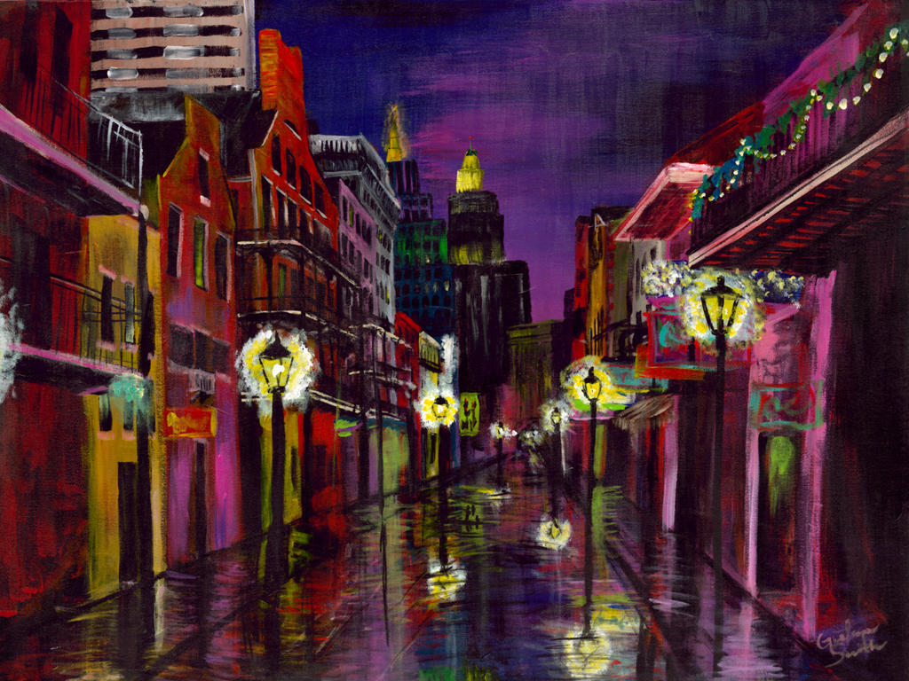 New Orleans Bourbon Street Twilight Street By