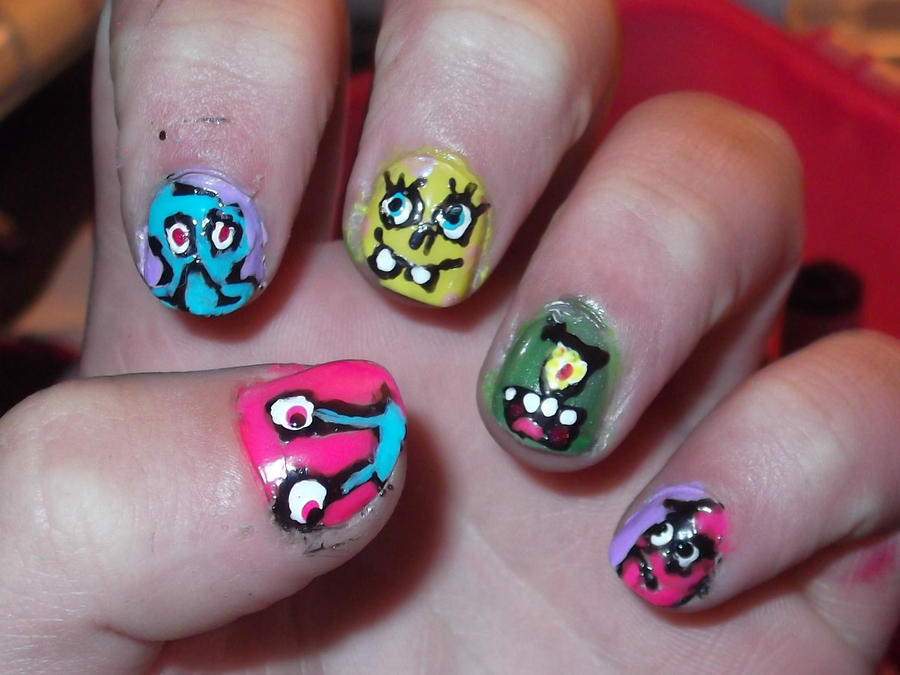Spongebob Nails by kmaster12 on DeviantArt