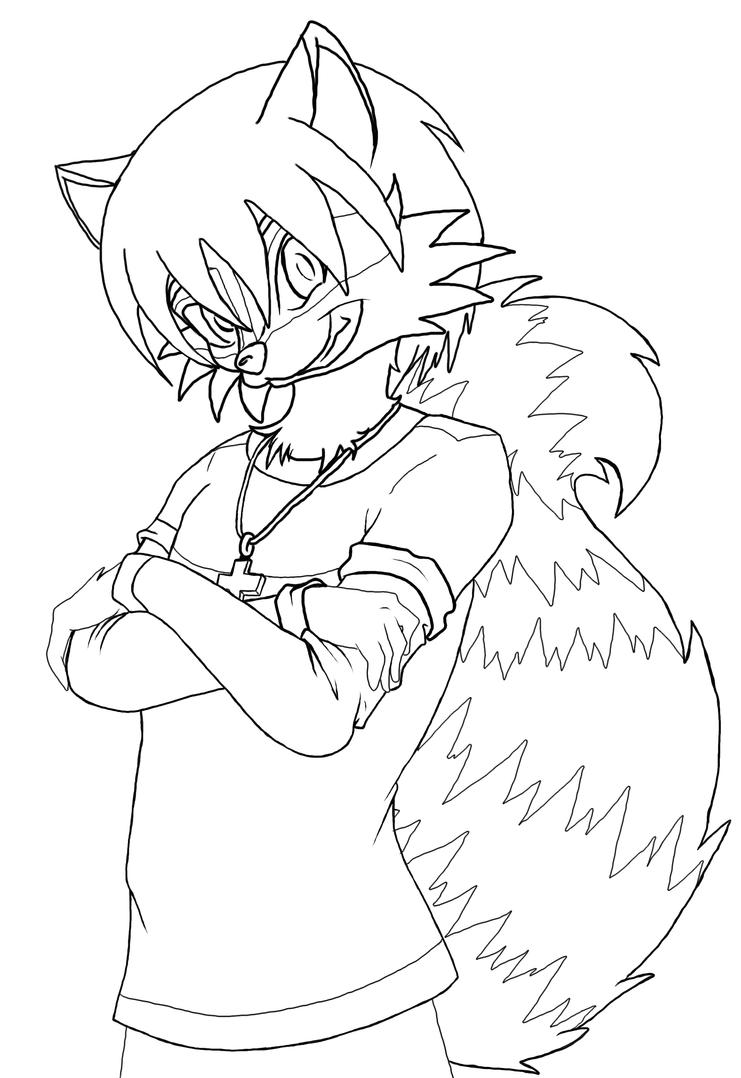 Line Drawing Raccoon : Raccoon furry lineart by neonlunardragon on deviantart