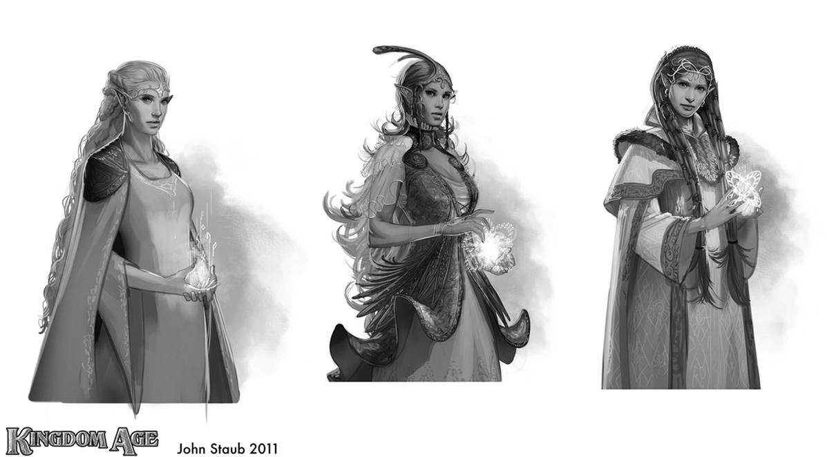 Kingdom Age - Elf Sketches by dustsplat