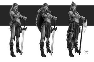 Warrior Girl sketches by dustsplat