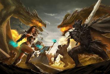 Dragon Realms title screen illustration by dustsplat