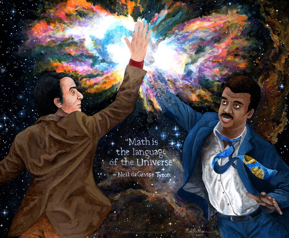Carl Sagan high-fiving Neil deGrasse Tyson