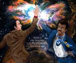 Carl Sagan high-fiving Neil deGrasse Tyson