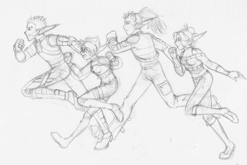 Drawing Day Jak OCs Running By Merrypaws