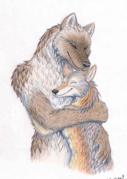 Wolf Hug - revised by merrypaws