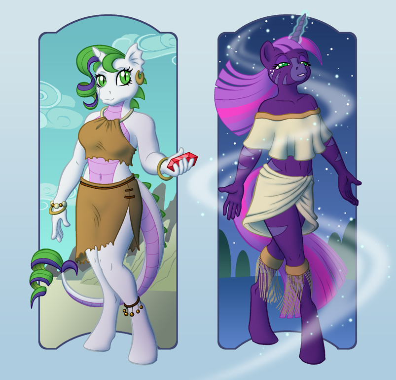 MLP - Filigree and Magenta anthros by merrypaws