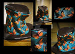 hand painted butterfly hat
