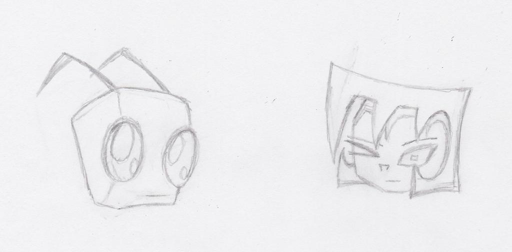 Zim and Gaz Sketches by XenonPhantom