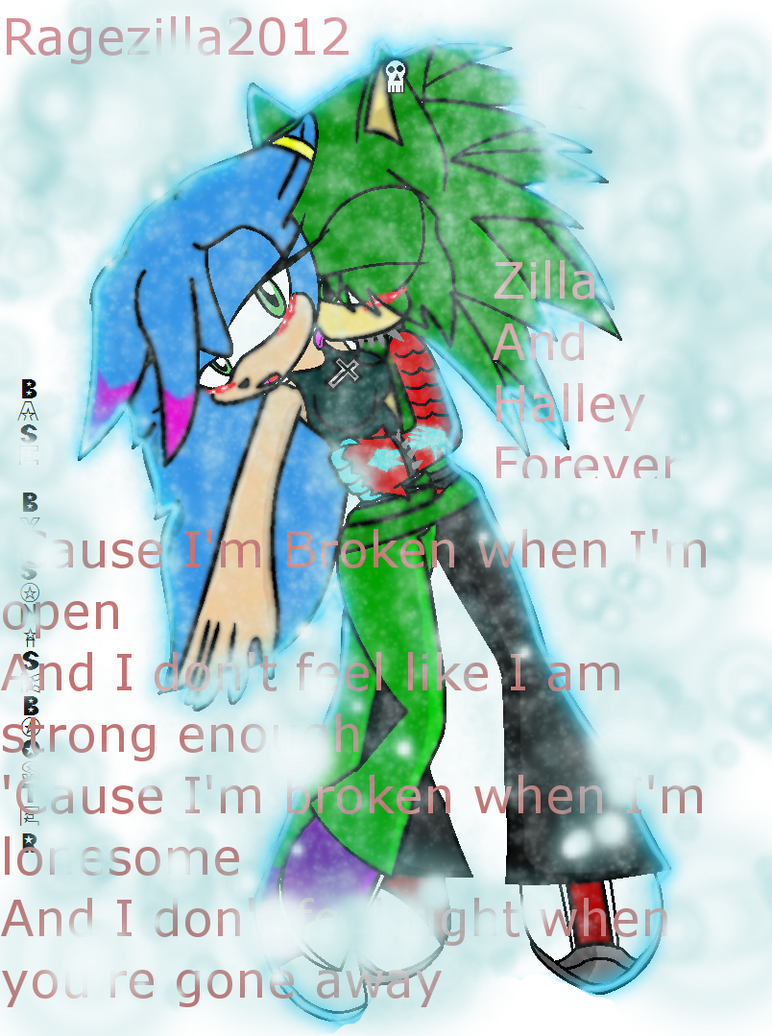 zilla and halley .: broken:. by RAGEZILLA2012