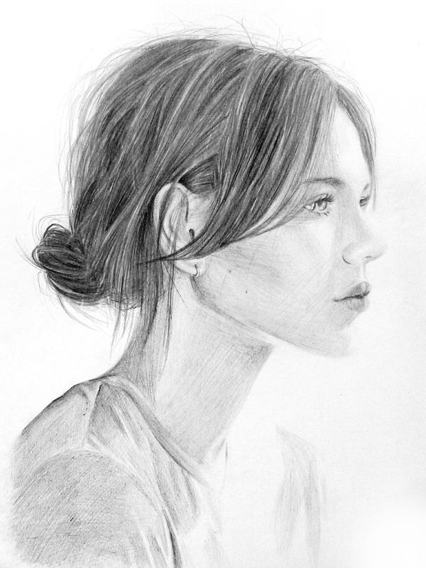 Girl - pencil drawing by Z-Xxx