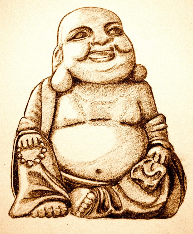 laughing buddha drawing - photo #4