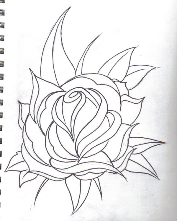 Line Art Rose Tattoo : Rose line drawing by tjkelly on deviantart