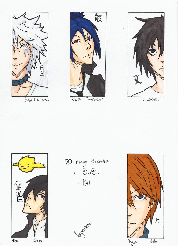 20 manga characters I @w@: Part 1. by Bakagamisama