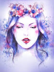 watercolor face girl