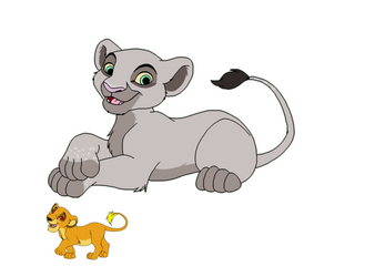 Adotped female Mintaka and cub Kalani by Teazerkitt