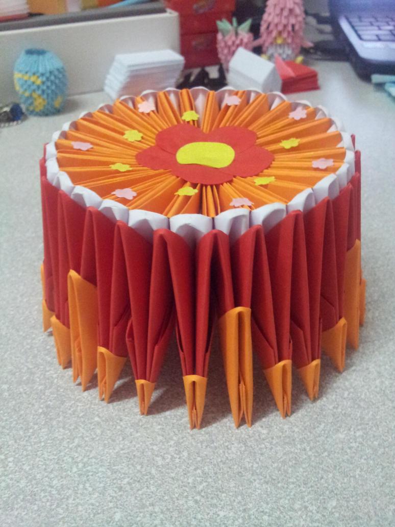 3d origami birthday cake by leexiuzhen on deviantart